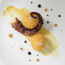 Octopus with Arancini