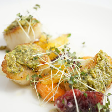 Capasante Tostate ai Pistacchi Roasted Scallops Encrusted in Pistachios Served with Winter Citrus and Smoked Olive Oil