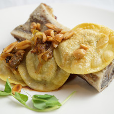 Roasted Bone Marrow with Beef Short Rib and Potato Ravioli