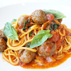 Classic Spaghetti and Meatballs with house made spaghetti.
